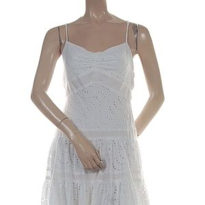 BCBGMAXAZRIA Eyelet Embroidered Voile Fabric Dress